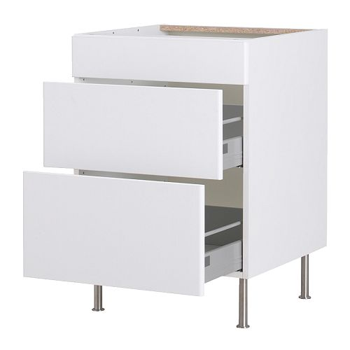 AKURUM Base cabinet with 3 drawers   You can view and access what's inside as the drawers can be pulled out all the way .