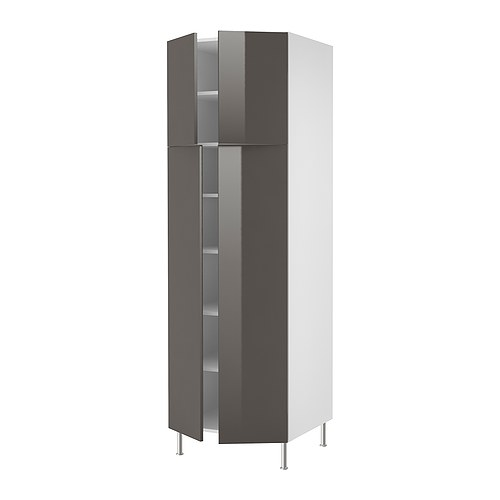 AKURUM High cabinet with shelves/4 doors   You can customize spacing as needed, because the shelf is adjustable.