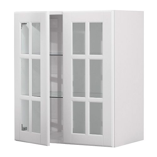 AKURUM Wall cabinet with 2 glass doors   You can customize spacing as needed, because the shelf is adjustable.