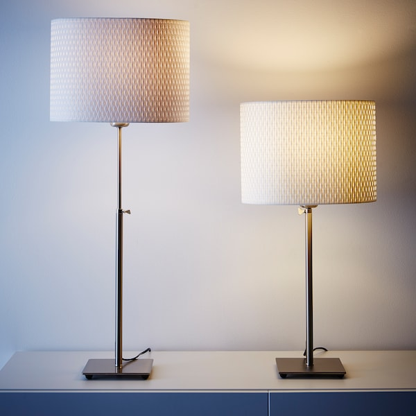 ALÄNG Table lamp, nickel plated/white