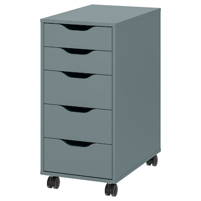 """ALEX Drawer unit on casters, gray-turquoise/black, 14 1/8x29 7/8 """""""