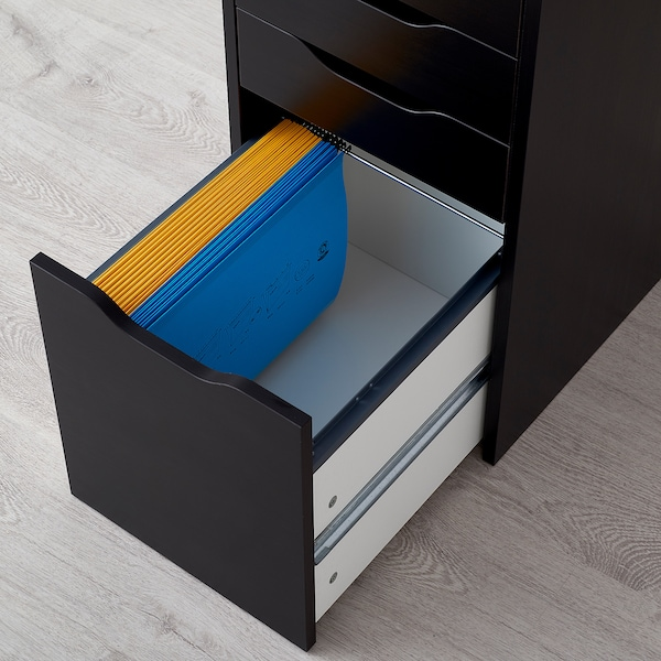 "ALEX drawer unit/drop file storage black-brown 14 1/8 "" 22 7/8 "" 27 1/2 """