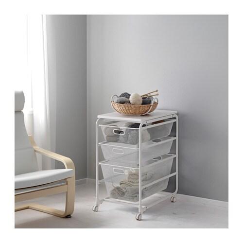 Algot frame mesh baskets top shelf caster white  0476443 pe616333 s4