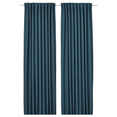 """ANNAKAJSA Room darkening curtains, 1 pair, blue, 57x98 """""""