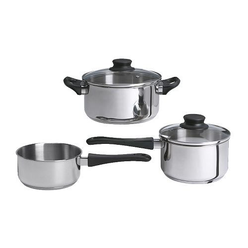ANNONS 5-piece cookware set   The glass lid allows you to monitor the contents of the pot during the cooking process.