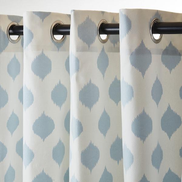 """ANTENNMAL Curtains, 1 pair, white/light blue, 57x98 """""""