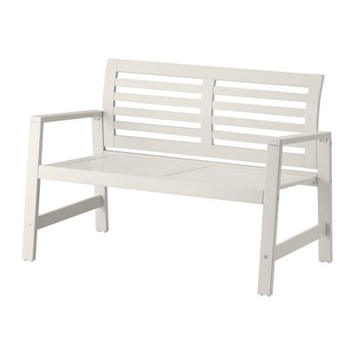 ÄPPLARÖ Bench with backrest, outdoor   The curved back ensures that you sit comfortably.
