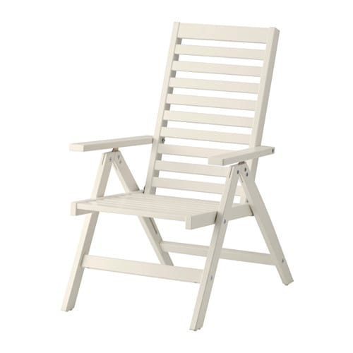 Pplar reclining chair outdoor foldable white ikea for Applaro chaise review