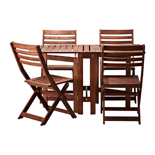 Pplar table and 4 folding chairs outdoor ikea for Table ikea 4 99