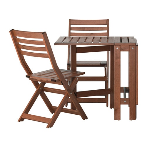 pplar table and 2 folding chairs outdoor pplar brown stained ikea. Black Bedroom Furniture Sets. Home Design Ideas