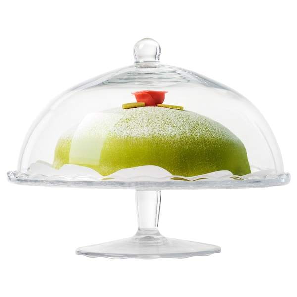 """ARV BRÖLLOP Cake stand with lid, clear glass, 11 """""""