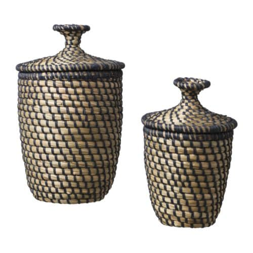 ÅSUNDEN Basket with lid, set of 2   Handmade.   Each basket is unique.  Stackable.