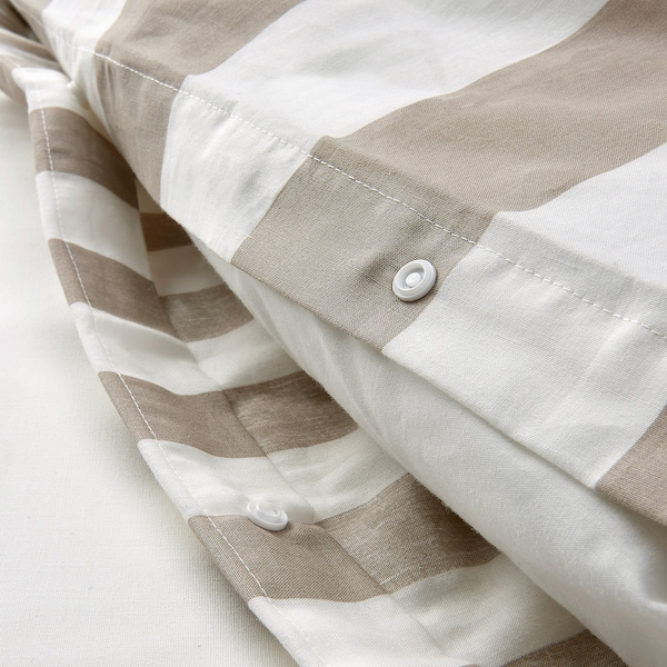 BÄRALM Duvet cover and pillowcase(s), white beige/stripe, Full/Queen (Double/Queen)