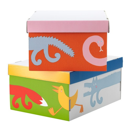 "BARNSLIG RINGDANS Box with lid, multicolor Length: 12 ½ "" Width: 9 ½ "" Height: 6 "" Package quantity: 2 pack  Length: 32 cm Width: 24 cm Height: 15 cm Package quantity: 2 pack"