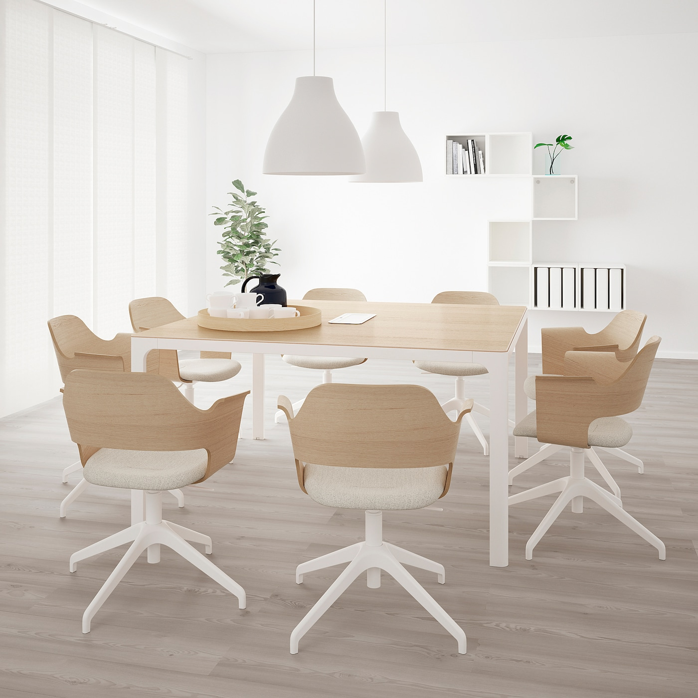 BEKANT Conference table, white stained oak veneer/white, 55 1/8x55 1/8 ""