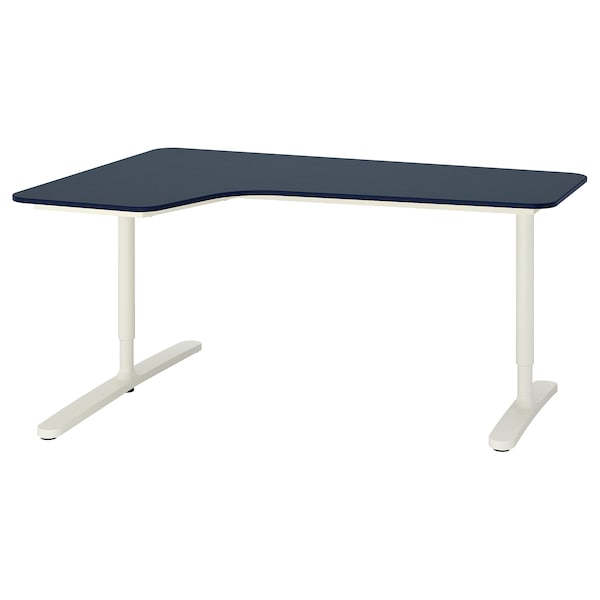BEKANT Corner desk-left, linoleum blue/white, 63x43 1/4 ""