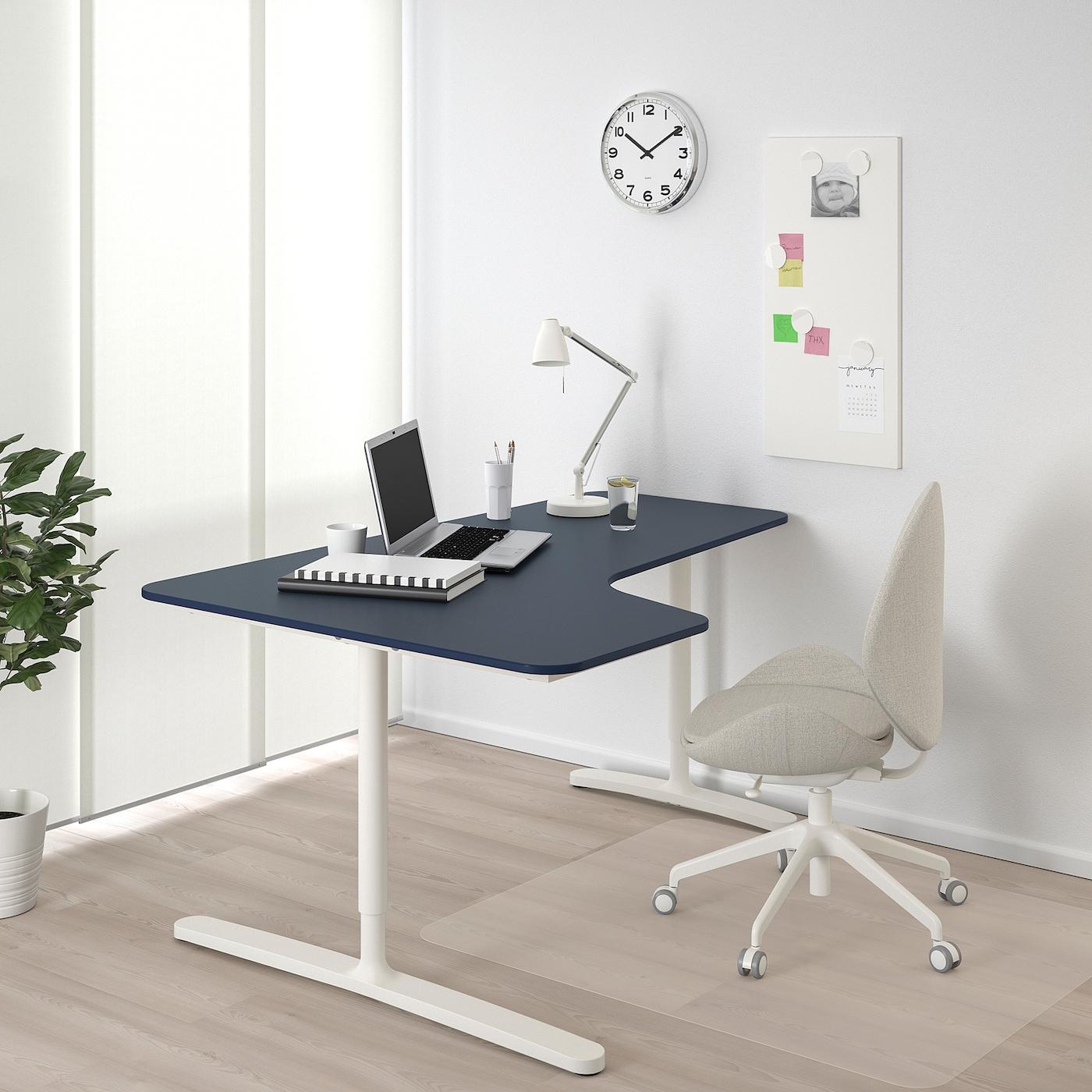 - BEKANT Corner Desk-left - Linoleum Blue, White - IKEA