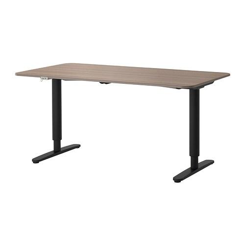 bekant desk sit stand gray black ikea. Black Bedroom Furniture Sets. Home Design Ideas