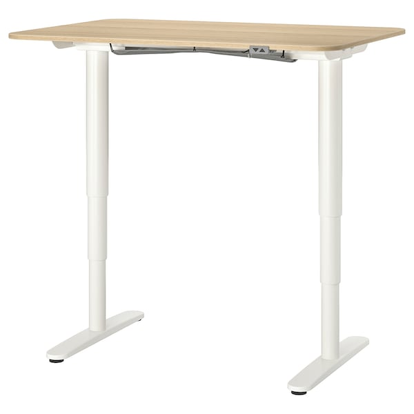 BEKANT Desk sit/stand, white stained oak veneer/white, 47 1/4x31 1/2 ""