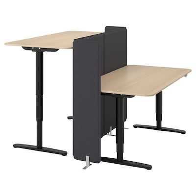 BEKANT Desk sit/stand with screen, white stained oak veneer/black, 63x63 47 1/4 ""
