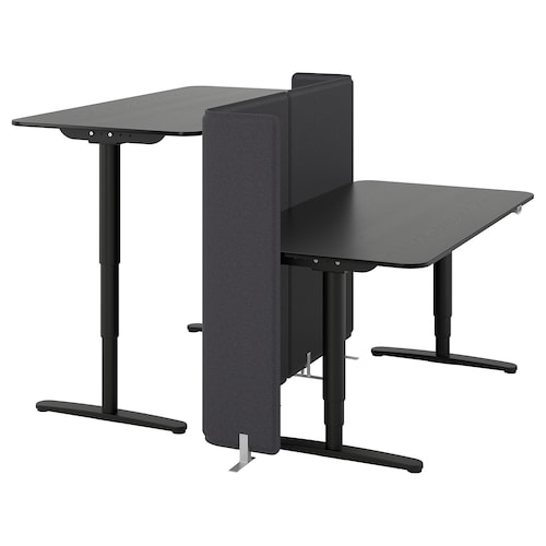 "BEKANT desk sit/stand with screen black stained ash veneer/black 47 1/4 "" 63 "" 63 "" 22 "" 48 "" 154 lb"