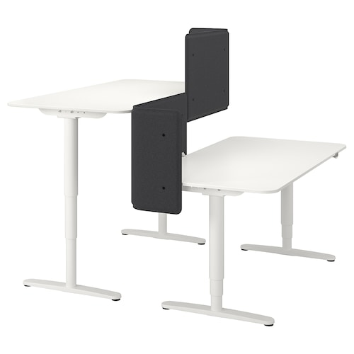 "BEKANT desk sit/stand with screen white 21 5/8 "" 63 "" 63 "" 25 5/8 "" 49 1/4 "" 154 lb"