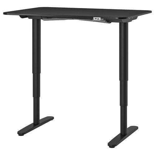 """BEKANT desk sit/stand black stained ash veneer/black 47 1/4 """" 31 1/2 """" 22 """" 48 """" 154 lb"""