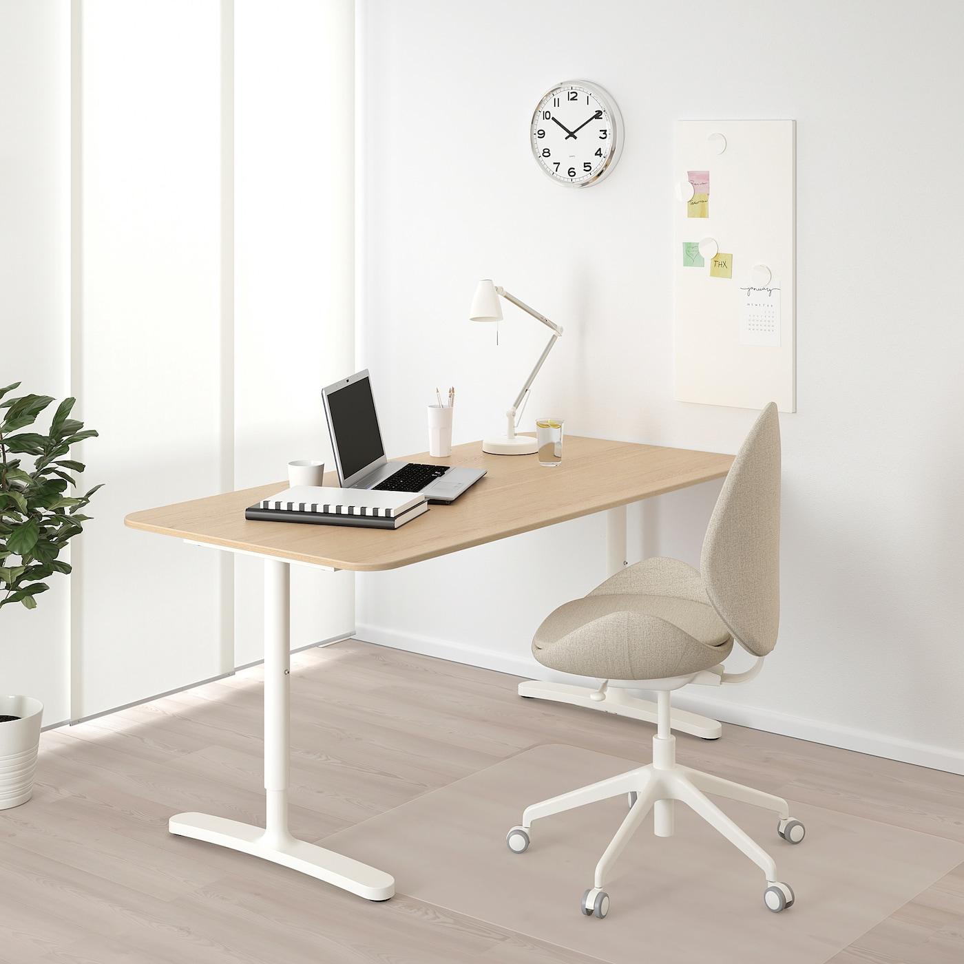 """BEKANT Desk, white stained oak veneer/white, 63x31 1/2 """""""