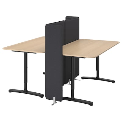 BEKANT Desk with screen, white stained oak veneer/black, 63x63 47 1/4 ""