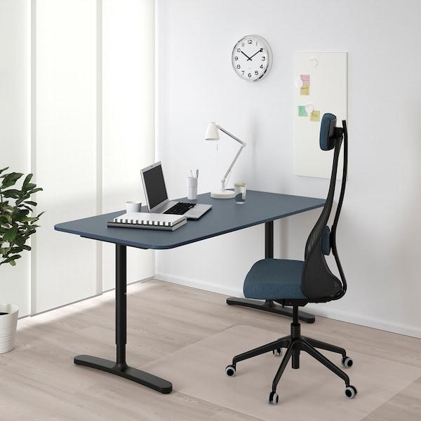 """BEKANT desk linoleum blue/black 63 """" 31 1/2 """" 25 5/8 """" 33 1/2 """" 220 lb 7 oz"""