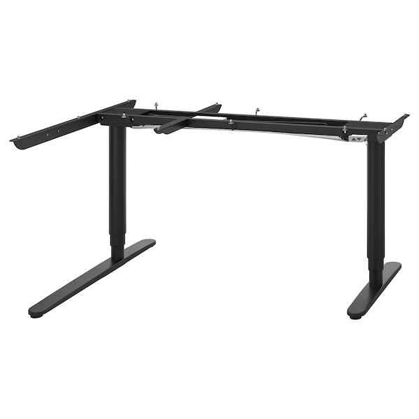 BEKANT Sit/stand underframe/corner table, black, 63x43 1/4 ""