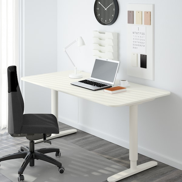 BEKANT Sit/stand underframe for table top, white, 63x31 1/2 ""