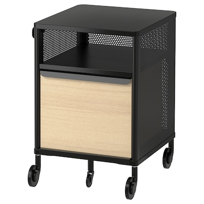 BEKANT Storage unit with smart lock, mesh black, 16 1/8x24 ""