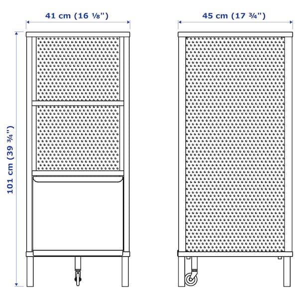 "BEKANT Storage unit with smart lock, mesh black, 16 1/8x39 3/4 """