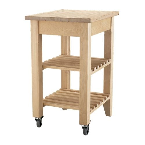 BEKVÄM Kitchen cart   Solid wood can be sanded and surface treated as needed.  Gives you extra storage, utility and work space.