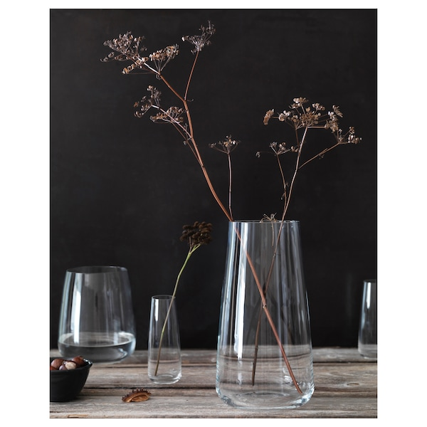"""BERÄKNA Vase, clear glass, 11 ¾ """""""