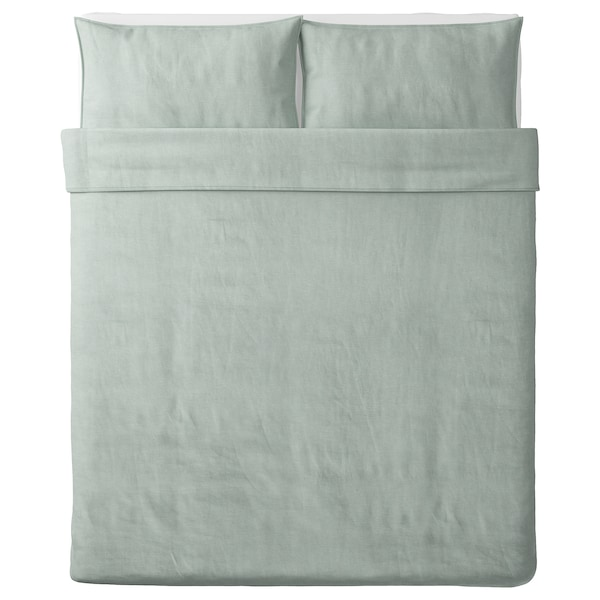 BERGPALM Duvet cover and pillowcase(s), green/stripe, Full/Queen (Double/Queen)