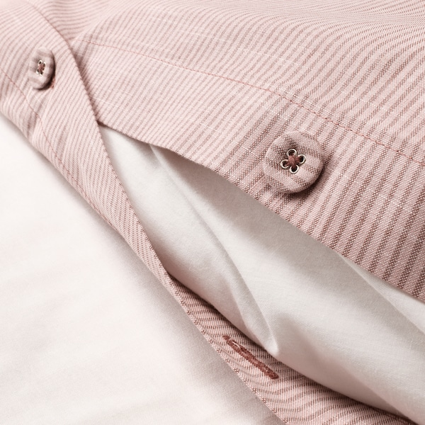BERGPALM Duvet cover and pillowcase(s), pink/stripe, Full/Queen (Double/Queen)