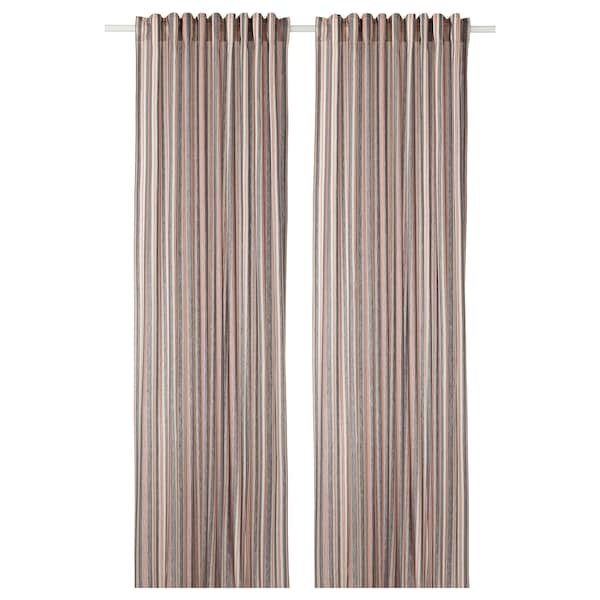 """BERGSKRABBA Curtains, 1 pair, gray/red striped, 57x98 """""""