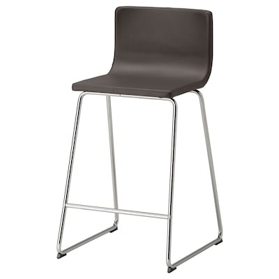 BERNHARD Bar stool with backrest, chrome plated/Mjuk dark brown, 26 ""