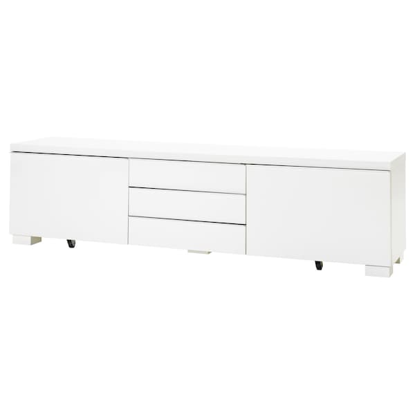 Bestå Burs Tv Bench High Gloss White
