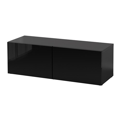 best shelf unit with doors black brown selsviken high gloss black ikea. Black Bedroom Furniture Sets. Home Design Ideas