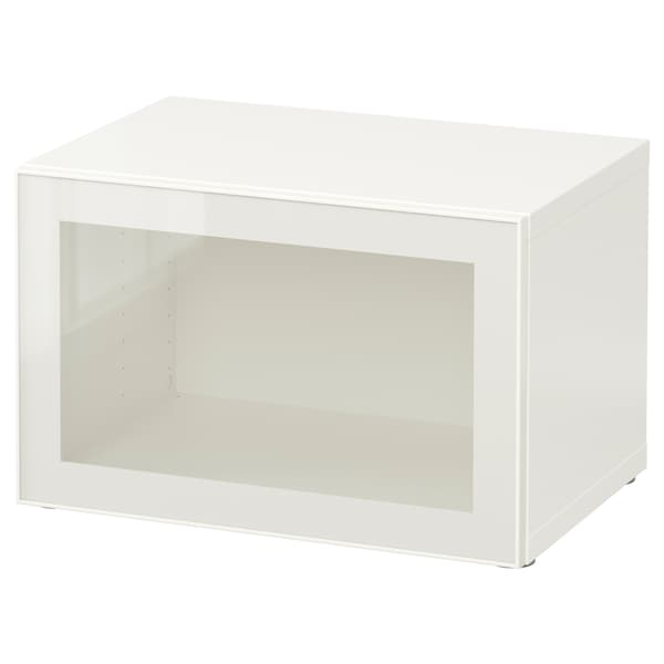 BESTÅ Shelf unit with glass door, white/Glassvik white/clear glass, 23 5/8x16 1/2x15 ""