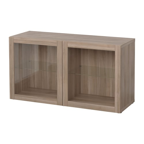 best shelf unit with glass doors sindvik walnut effect. Black Bedroom Furniture Sets. Home Design Ideas