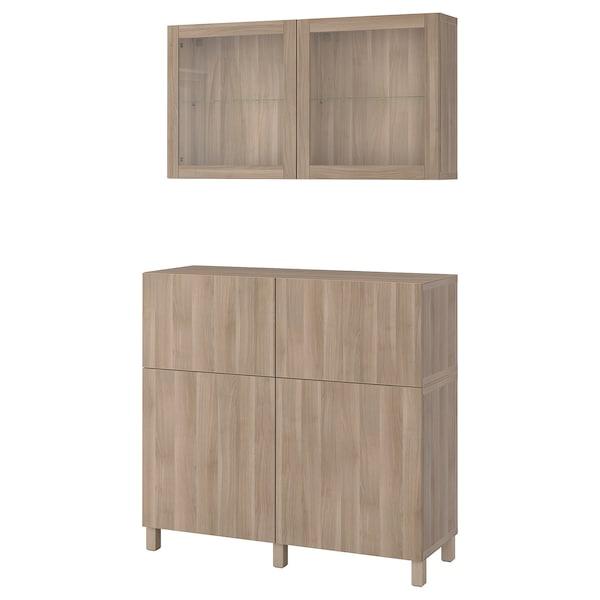 "BESTÅ storage combination w doors/drawers walnut effect light gray/Lappviken/Stubbarp gray stained walnut eff clear glass 47 1/4 "" 16 1/2 "" 94 1/2 """