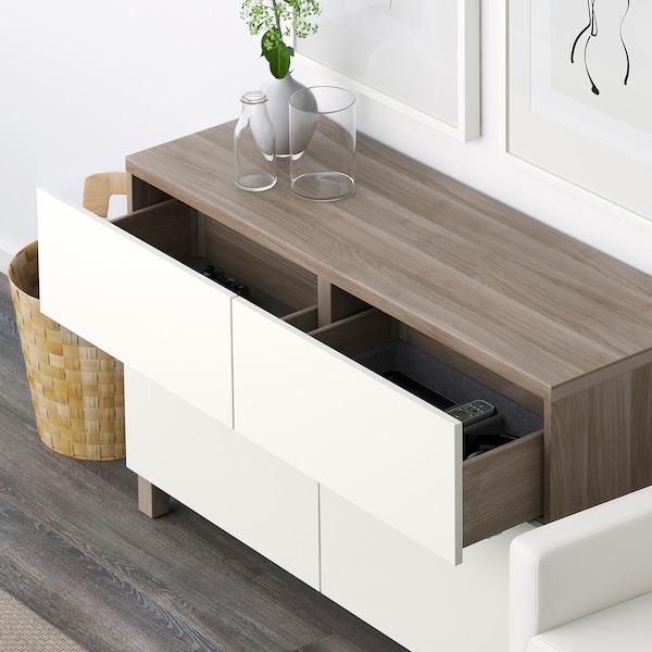 "BESTÅ Storage combination w doors/drawers, walnut effect light gray/Lappviken white, 47 1/4x16 1/2x29 1/8 """