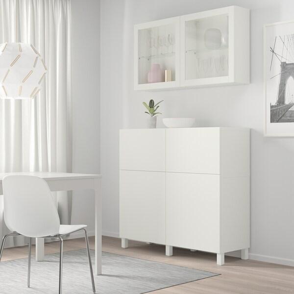 "BESTÅ storage combination w doors/drawers white/Lappviken/Stubbarp white clear glass 47 1/4 "" 16 1/2 "" 94 1/2 """