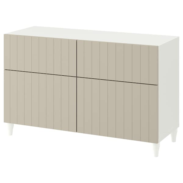 BESTÅ Storage combination w doors/drawers, white/Sutterviken/Kabbarp gray-beige, 47 1/4x16 1/2x29 1/8 ""