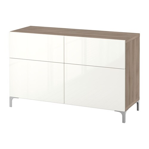 Best storage combination w doors drawers walnut effect for White gloss sideboards at ikea