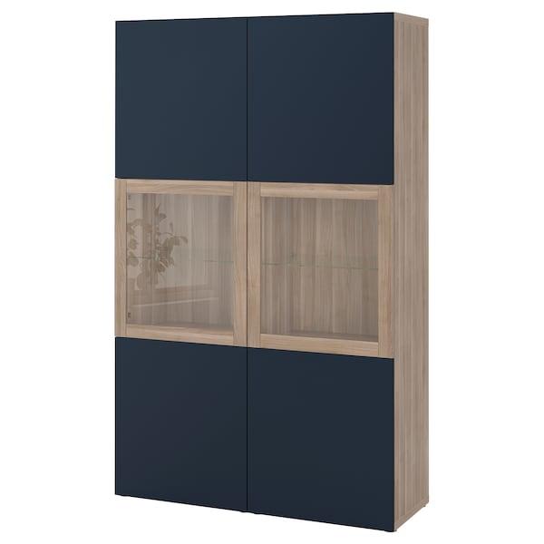 Besta Storage Combination W Glass Doors Walnut Effect Light Gray Notviken Blue Clear Glass Ikea